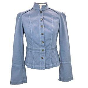 WHBM Powder Blue Military Jean Jacket 6